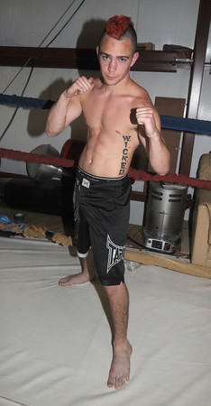 Salisbury:  Josh Bourque,<br /> one of the fighters at Dan's Greene's gym in Salisbury. Jim Vaiknoras/Staff photo