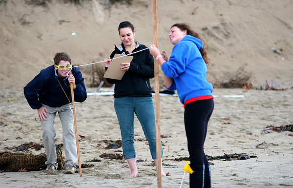 Newbury: Governor's Academy students, Rory Burke, left, Carolyn Hoffman, center, and Konnar Johnson, right, take measurements on the erosion at Plum Island Wednesday afternoon. All three are students in Susan Oleszko's class and have been taking readings at the beach regularly. Photo by Ben Laing/Staff Photo
