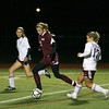 Belmont: Newburyport freshman Julia Kipp (2) races through the Belmont midfield during Wednesday night's game. The Clippers tournament run came to a close with a 1-0 defeat. Photo by Ben Laing/Staff Photo