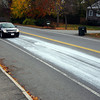 Newburyport: Industrial strength glue was spilled on Low Street in Newburyport Wednesday afternoon, leaving a trail from Hale Street to Storey Ave. Photo by Ben Laing/Staff Photo