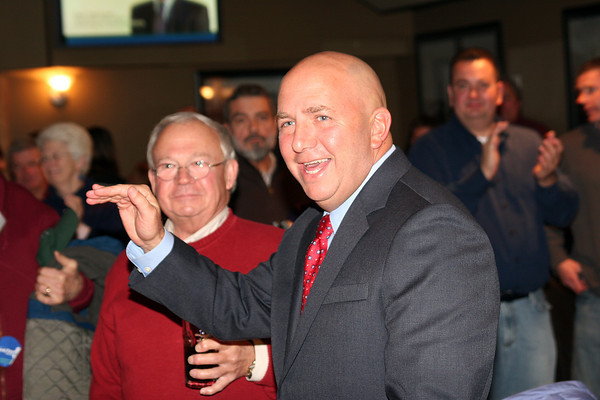 Newburyport: State Representative Michael Costello celebrates with his supporters Tuesday night at Michael's Harborside in Newburyport. Photo by Ben Laing/Staff Photo