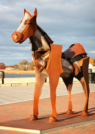 Newburyport: This horse sculpture, currently located at the sculpture park along the boardwalk in Newburyport, is being eyed by city officials for purchase and placement along the Clipper City Rail Trail. Photo by Ben Laing/Staff Photo