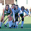Amesbury: Pentucket field hockey players line up for a shot during Wednesday's playoff loss to Winchester at Amesbury Sports Park. Photo by Ben Laing/Staff Photo