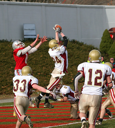 Amesbury: Newburyport's Ian Michaels (24) intercepts a Tyler Lay pass in the endzone during the Clippers 26-0 win over Amesbury on Thursday. Photo by Ben Laing/Staff Photo