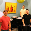 Newburyport: Zach Field, front left, and his bandmates, Jarrett Osborn, rear left, Conal Ryan, front right, and Austin Bryant, rear right, also teach drum lessons at the Tannery. The quartet play in a group called Plum Island Pans. Photo by Ben Laing/Staff Photo