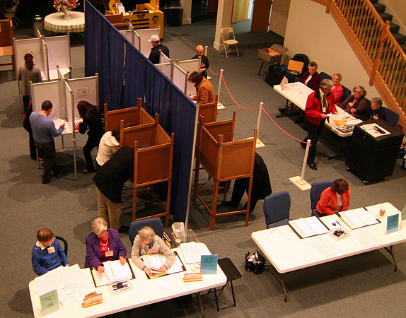 Newburyport: The polling booths were filled at Hope Church in Newburyport Tuesday evening. Photo by Ben Laing/Staff Photo