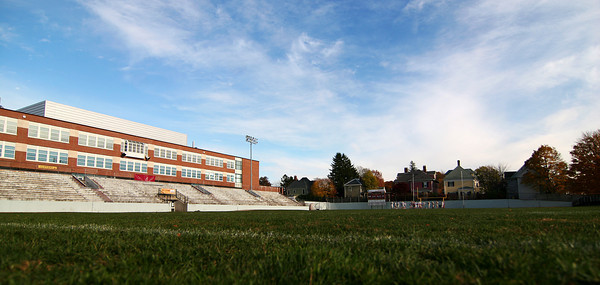 Newburyport: The north side of World War Memorial Stadium at Newburyport High School has been condemned and is in urgent need of restoration. A private fund raising group, RESTORE, has been raising money for repairs to the stadium and the addition of a turf playing  surface. Photo by Ben Laing/Staff Photo