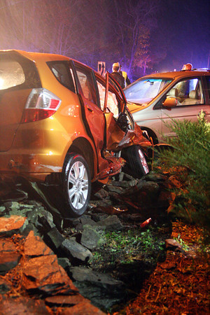 Byfield: A two car accident at the intersection of RT. 1 and Elm Street in Byfield, near Governor's Academy, sent four people to the hosptial Tuesday night. All were suspected of having minor injuries. Photo by Ben Laing/Staff Photo