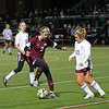 Belmont: Newburyport freshman Julia Kipp (2) settles the ball against a Belmont defender Wednesday night. The Clippers tournament run would come to an end after losing to their hosts, 1-0. Photo by Ben Laing/Staff Photo
