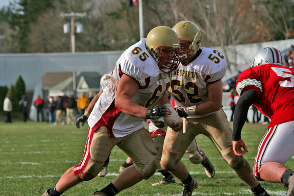 Amesbury: Newburyport's Tyler Souther (65) lines up a block during Thursday's 26-0 win over Amesbury. Photo by Ben Laing/Staff Photo