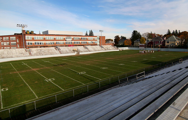 Newburyport: The north side of World War Memorial Stadium at Newburyport High School has been condemned and is in urgent need of restoration. A private fund raising group, RESTORE, has been raising money for repairs to the stadium and a turf playing surface. Photo by Ben Laing/Staff Photo