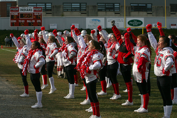 Amesbury: The Amesbury High School cheerleaders fire up their crowd during Thursday's annual Thanksgiving Day football game against Newburyport. Photo by Ben Laing/Staff Photo