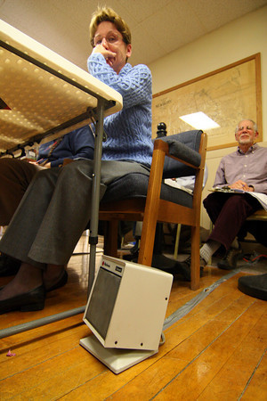 Newbury: Space heaters were pressed into service at Newbury Town Hall Tuesday to keep voters and poll workers warm, as the furnace was being replaced. Photo by Ben Laing/Staff Photo