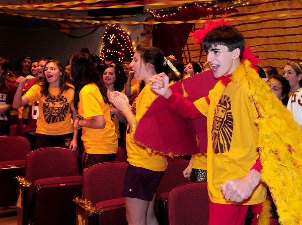 """Newburyport: Alex Bradley, junior class president, leads his classmates in cheering at the Newburyport High Color Day pep rally to gear up for Thursday's football game against Amesbury. His classes theme was the """"Lion King"""" and we was dressed the part.Bryan Eaton/Staff Photo"""