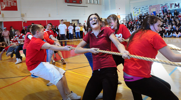 Amesbury: Amesbury High School juniors compete in the final round of tug-of-war against seniors during Color Day.  Among the other skits and pumping up for the Thanksgiving Day football game against Newburyport, this event is always one of the more popular. Bryan Eaton/Staff Photo