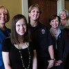 """Salisbury: Four winners of the """"Breaking the Glass Ceiling Awards"""" were honored at a luncheon at Blue Ocean Music Hall yesterday afternoon. The honorees, from left, Patty Hoyt, Bryna Shuman and Sue Marden were joined by guest speaker, Salem State College President Patrice Maguire Meservey, and Jeanne Geiger Crisis Center's Patty Dorfman and Suzanne Dubus. Missing from photo is honoree Delia O'Connor. Bryan Eaton/Staff Photo"""