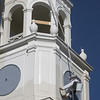 Newburyport: A worker from Burgess Steeplejacks paints the steeple at St Paul Chruch in Newburyport Thursday morning. The High Street Church is under going renovations. Jim Vaiknoras/Staff photo