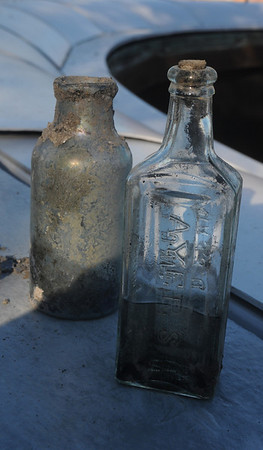 Newburyport: An Ayer's Sarsparilla bottle found at the water treatment plant constructiojn site in Newburyport. Jim Vaiknoras/Staff photo