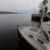 Newburyport: The fishing boat Katie May rest in the embayment on the Newburyport waterfront on a empty Merrimack River. Jim Vaiknoras/Staff photo