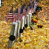 Neburyport: Falling leaves cover the headstones at Veteran's cemetary on Pond Street in Newburyport. Jim Vaiknoras/Staff photo