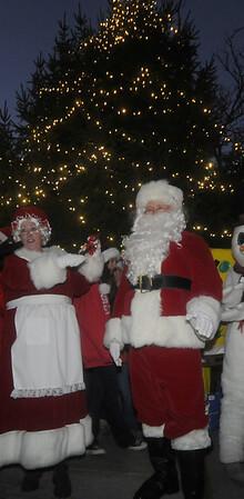 Newburyport: Santa And Mrs Claus at the annual Christmas Tree Lighting Tree Lighting at Market Square in newburyport Sunday night. Jim Vaiknoras/Staff photo