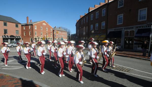 Newburyport: The Newburyport high school band turns up State Street in the annual Veteran Day parade in Newburyport Thursday morning. Jim Vaiknoras/Staff photo