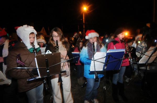 Salisbury: Musicians from the Salisbury Elementary School perform at the annual Tree Lighting in Salisbury Sunday night. Jim Vaiknoras/Staff photo