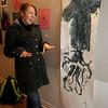 Newburyport:Newburyport high student Kayla McKinnon talks about a print made using a squid in Rod Yoeman class at Newburyport high.Jim Vaiknoras/Staff photo