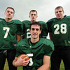 West Newbury: Pentucket quarterback Mike Doud flanked by, from left, Sean Brennan, Paul Treado and Jeremy  Krugh. Bryan Eaton/Staff Photo