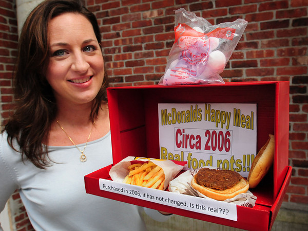 Newburyport: Jennah Dieter of Health Care Complete with a Happy Meal she purchased in 2006 hasn't changed much, except the burger has shrunk and is a little hard. Bryan Eaton/Staff Photo