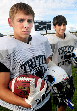 Byfield: Triton's Shon O'Leary, left, and Dom Rovetto. Bryan Eaton/Staff Photo
