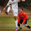 Georgetown: Georgetown's Ryan Browner kicks the ball away from the net. Bryan Eaton/Staff Photo