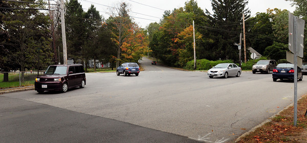 Newburyport: The city is considering putting a rotary at the busy intersection of Merrimac Street, Moseley Avenue and Spofford Street just south of the Chain Bridge. Bryan Eaton/Staff Photo
