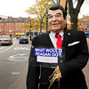 Newburyport: The Newburyport Rebublican City Committtee's entrant to the Fall Festival Scarecrow Contest, the late president Ronald Reagan, has been vandalized several times. Bryan Eaton/Staff Photo