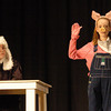 "West Newbury: The Judge, played by Sam Joyall, looks on as Suey Pig, played by Phoebe Law, is sworn in the the upcoming Pentucket High School play  ""People vs. BB Wolf."" Bryan Eaton/Staff Photo"