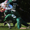 West Newbury: Amesbury's Stephan Deas almost makes a touchdown as Pentucket's Sean Brennan makes the tackle shy of the goal line. The Indian's scored the games first touchdown on the next play. Bryan Eaton/Staff Photo