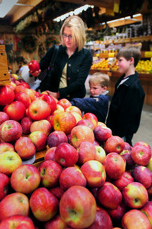 Newbury: Lori Szymanski picks some honey crisp apples grown at Tender Crop Farm in Newbury with sons, Aiden, 5, middle, and Justin, 9. The Rowley resident says she purposely buys local produce when available. Bryan Eaton/Staff Photo