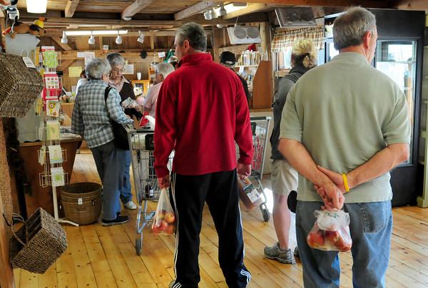 Amesbury: With a wonderful growing season winding down and more interest in buying local produce, the lines have been long at farm stores and stands, here at Cider Hill Farm in Amesbury. Bryan Eaton/Staff Photo