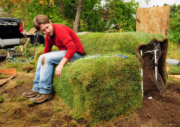 """Newburyport: The Green Artists League, is installing """"Green Furniture"""" at the Alchemical Garden, a public """"art park"""" on the rail trail. """"Green Furniture"""" consists of two grass couches designed and built by GAL artist Tim Gaudreau, pictured, of Portsmouth NH that will function as living, park furniture and as a gathering place along the Rail Trail. Bryan Eaton/Staff Photo"""