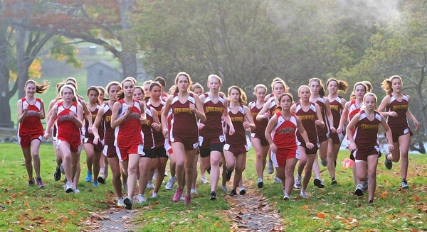 Newburyport: The Newburyport girls cross country team hosted their counterparts from Amesbury Tuesday afternoon as both teams ran the course at Maudsaly State Park. Photo by Ben Laing/Staff Photo