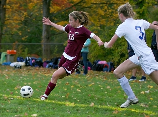 Georgetown: Newburyport's Hannah Martin (15) lines up a shot during Monday's game at Georgetown. Photo by Ben Laing/Staff Photo