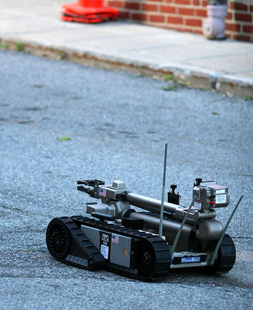 Newburyport: The State Police Bomb Squad robot was on the scene after a suspicious package was found in the Green Street parking lot by Newburyport police Monday afternoon. Photo by Ben Laing/Staff Photo