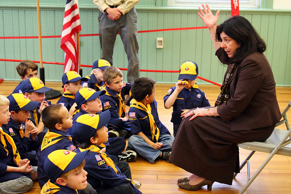 Newburyport: Newburyport Mayor Donna Holaday addresses a troop of Cub Scouts at the Kelley School Monday evening. The scouts are holding a fundraiser selling popcorn, which can be ordered via email at popcornsale@comcast.net. Photo by Ben Laing/Staff Photo