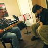 Newburyport: Chris Sardo-Errico, 16, of Boxford, gets a one on one guitar lesson from Andy Dow at the Music Suite in Newburyport Wednesday afternoon. Photo by Ben Laing/Staff Photo
