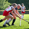 Amesbury: Amesbury's Robin Papkey (22) battles with a Lynnfield player during Monday morning's game at Amebury High. The Indians would defeat the Pioneers, 4-0. Photo by Ben Laing/Staff Photo