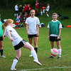 Amesbury: A group of Amesbury High School girls soccer players warm up before practice Tuesday afternoon. The group, made up of sophmores, from left, Janine Fatal, Megan Cullen, Natalie Dawes, Emily Martin, Taylor Tagliente, and freshman Kelly Difazio, participated in and won a summer 4 vs. 4 tournament. Photo by Ben Laing/Staff Photo