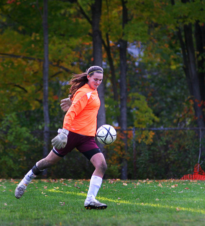 Georgetown: Newburyport goalkeeper Eleni Kacher prepares to send the ball downfield during Monday afternoon's game in Georgetown. Photo by Ben Laing/Staff Photo