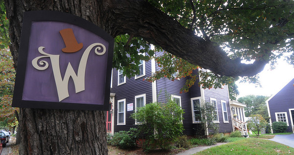 Newburyport: A Wonka sign outside of 67 Marlboro Street in Newburyport,This will be the last year for the popular Halloween display on Marlboro St., which draws up to 2000 people each year.Jim Vaiknoras/Staff photo