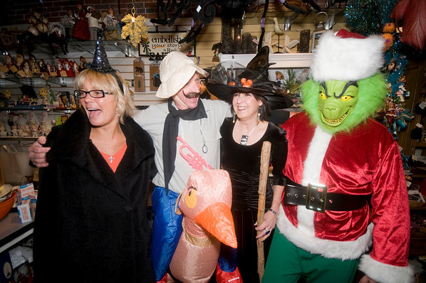 """newburyport: Nancy Roy, Marleen Bell , Malcolm Bell and Kevin Riely ihave some Halloween fun at A Partridge in a Bear Treet at """"Witches Night Out"""" Friday night in Newburyport. Jim Vaiknoras/Staff photo"""