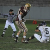 Newburyport: Newburyport's Connor Wile looks down at Lynnfield's Rick Berardino afterter breaking up a Lynnfield pass attempt at Newburyport Friday night. Jim Vaiknoras/Staff photo